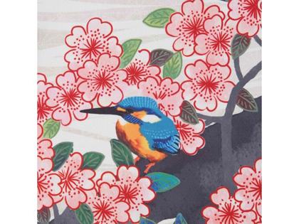 美しい青いカワセミ。春を喜び、飛び回る姿を表現しています。