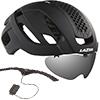 LAZER BULLET2.0 AF+LENS+LED(バレット2.0 アジアンフィット+レンズ+LED) <マットブラック> ロードヘルメット【心拍センサーライフビーム付き】限定セット